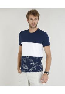 Camiseta Masculina Com Estampa De Folhagem E Recorte Manga Curta Gola Careca Azul Marinho