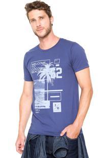 Camiseta Fiveblu Manga Curta Slim Coconut Azul