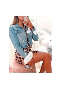 Jaqueta Jeans Cropped Princesa Azul Claro