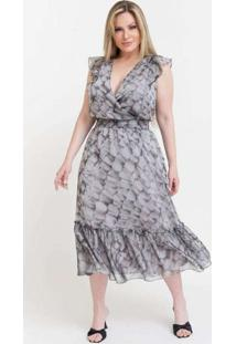 Vestido Midi Almaria Plus Size Pianeta Peplum Pret