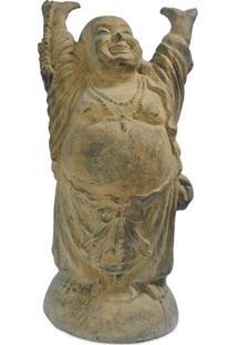 Escultura Happy Buddha 100Cm   Pátina