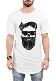 Camiseta Criativa Urbana Long Line Oversized Estilo Barbearia Barba Branca
