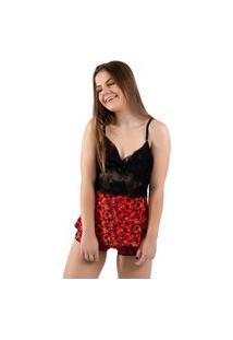Baby Doll 4 Estações Pijama Feminino Curto Rendado Estampado Noite Sem Bojo