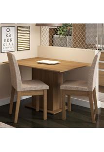Conjunto Sala De Jantar Madesa Beca Mesa Tampo De Madeira Com 2 Cadeiras Marrom - Tricae