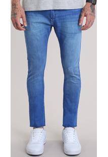 Calça Jeans Super Skinny Cropped Azul Médio