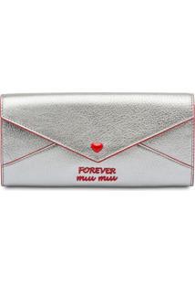 Miu Miu Carteira Envelope Madras - Prateado