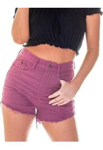 Shorts Jeans Denim Zero Setentinha Colorido - Feminino-Roxo