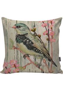 Capa De Almofada Nice Bird- Verde & Rosa- 45X45Cm