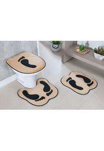 Tapete Jogo Banheiro Formato Pegada Bege