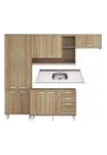 Cozinha Compacta Com Pia Inox 5 Peças Sicília Multimóveis Mp3188 Madeirado