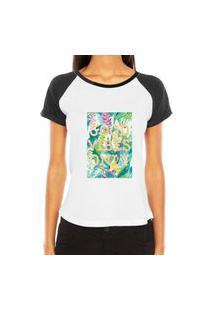 Camiseta Criativa Urbana Raglan Good Vibes Only Branca E Preta