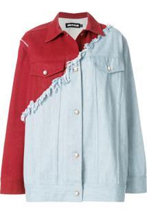 House Of Holland Jaqueta Jeans Contrastante - Vermelho