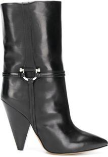 Isabel Marant Ankle Boot Bico Fino De Couro - Preto