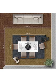 Conjunto Sala De Jantar Mesa Tampo De Vidro Branco 6 Cadeiras Esmeralda Leifer Ypê/Off White/Palha