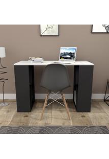 Mesa Para Escritório Com 8 Nichos Press Bliv - Branco E Preto
