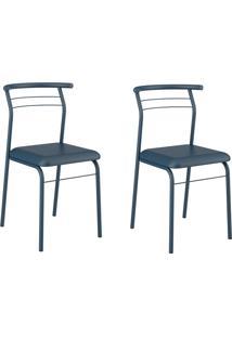 Kit 2 Cadeiras 1708 Azul Nortuno - Carraro Móveis