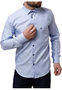 Camisa Manga Longa Masculina Elétron Azul Claro