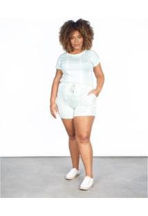 Bermuda Amplo Cintura Alta Plus Feminino Estampa Tie Dye - Feminino