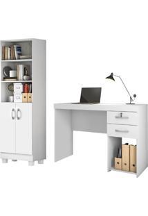 Conjunto Home Office 2 Peças Jcm Movelaria Branco