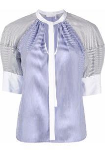 Chloé Blusa De Algodão Com Listras E Mangas Bufantes - Azul