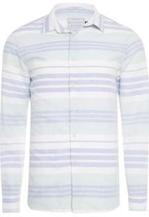Camisa Masculina Linho Listrada - Azul E Branco
