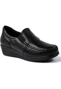 Sapato Feminino Anabela 182 Em Couro Doctor Shoes - Feminino-Preto