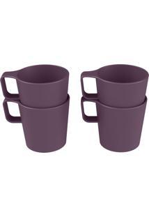 Conjunto Com 4 Canecas Empilháveis Casual Roxo Púrpura Coza
