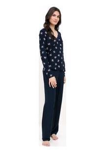 Pijama Manga Longa Floral Com Renda