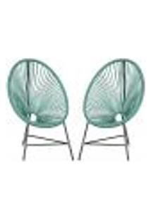 Cadeiras De Áreas Acapulco Bahamas Azul Turquesa Corda Sintetica ( 2 Unidades)