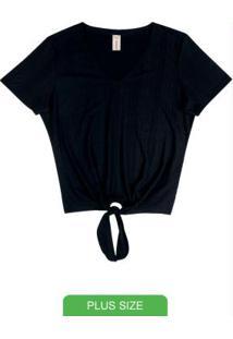 Blusa Decote V Com Amarração Preto