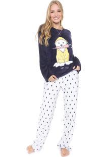 Pijama Any Any Chuva Azul-Marinho/Branco