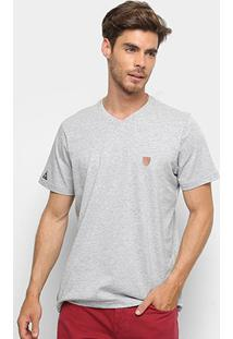 Camiseta Okdok Classic Gola V - Masculina - Masculino-Cinza