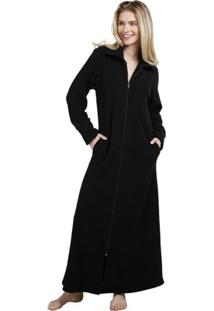 Robe Inspirate Com Zíper Soft Atoalhado Feminino - Feminino-Preto