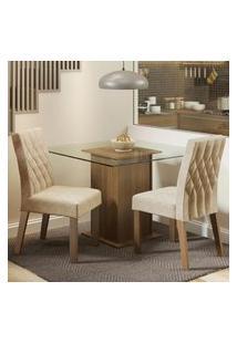 Conjunto Sala De Jantar Madesa Cassia Mesa Tampo De Vidro Com 2 Cadeiras Marrom