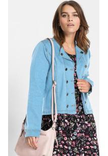 Jaqueta Jeans Abotoamento Duplo Azul Claro