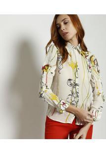 41ab28f99a Camisa Floral Em Seda - Off White   Verde Claroversace Collection