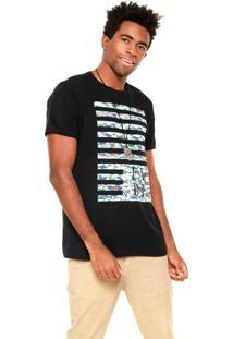 Camiseta Fiveblu Army Stripe Preta/Verde/Bege