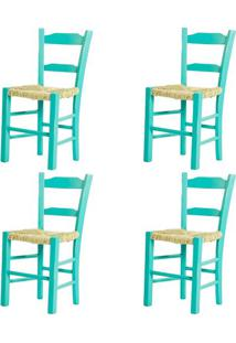 Kit 4 Cadeiras Lagiana Pequenas Eucalipto Turquesa Assento Palha - 59467 - Sun House