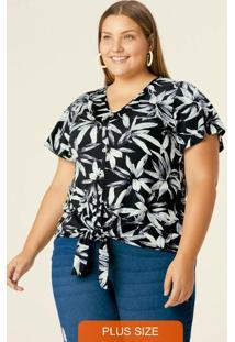 Blusa Floral Com Amarração Plus