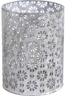 Porta Vela Floral Vazado- Cinza Claro- 14,5Xø11Cm
