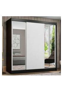 Guarda-Roupa Casal Madesa Reno 3 Portas De Correr Com Espelhos Preto/Branco Branco