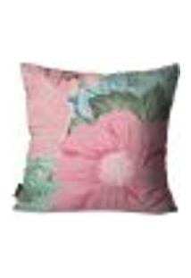 Capa Para Almofada Premium Peluciada Mdecore Floral Rosa 45X45Cm