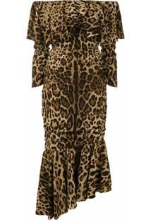 Dolce & Gabbana Vestido Midi Animal Print - Neutro