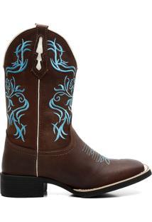 Bota Ellest Texana Bordado Feminina - Feminino-Marrom+Azul
