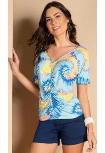 Blusa Tie Dye Azul Com Drapeado Frontal