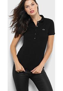 Camisa Polo Lacoste Manga Curta Botões Feminina - Feminino-Preto