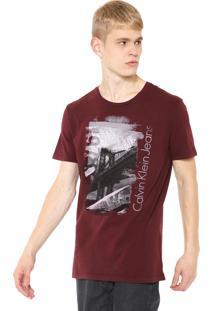 Camiseta Calvin Klein Jeans 1978 Bridge Bordô