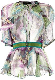 Dsquared2 Floral-Print Peplum-Hem Chiffon Blouse - Roxo