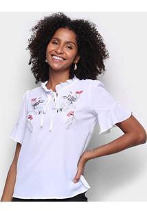 Blusa Mi Bordada Floral Feminina - Feminino-Branco