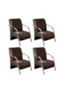 Conjunto De 4 Poltronas Sevilha Decorativa Braço Alumínio Cadeira Para Recepção, Sala Estar Tv Espera, Escritório - Veludo Marrom